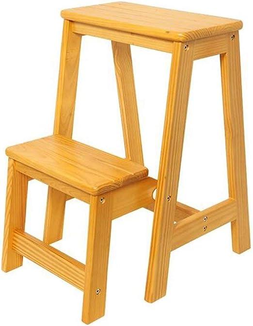 Taburete con peldaños Taburete con escalera de madera maciza Taburetes con escalones multifuncionales Sofá y zapatos para cambiar de pasillo Taburete plegable con 2 peldaños - Amarillo Capacidad de 150 kg-: Amazon.es: Hogar