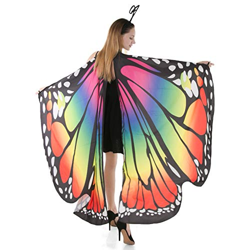 Spooktacular Creations Butterfly Wings Cape Fairy Shawl Costume Accessory with Antenna Headband-Rainbow