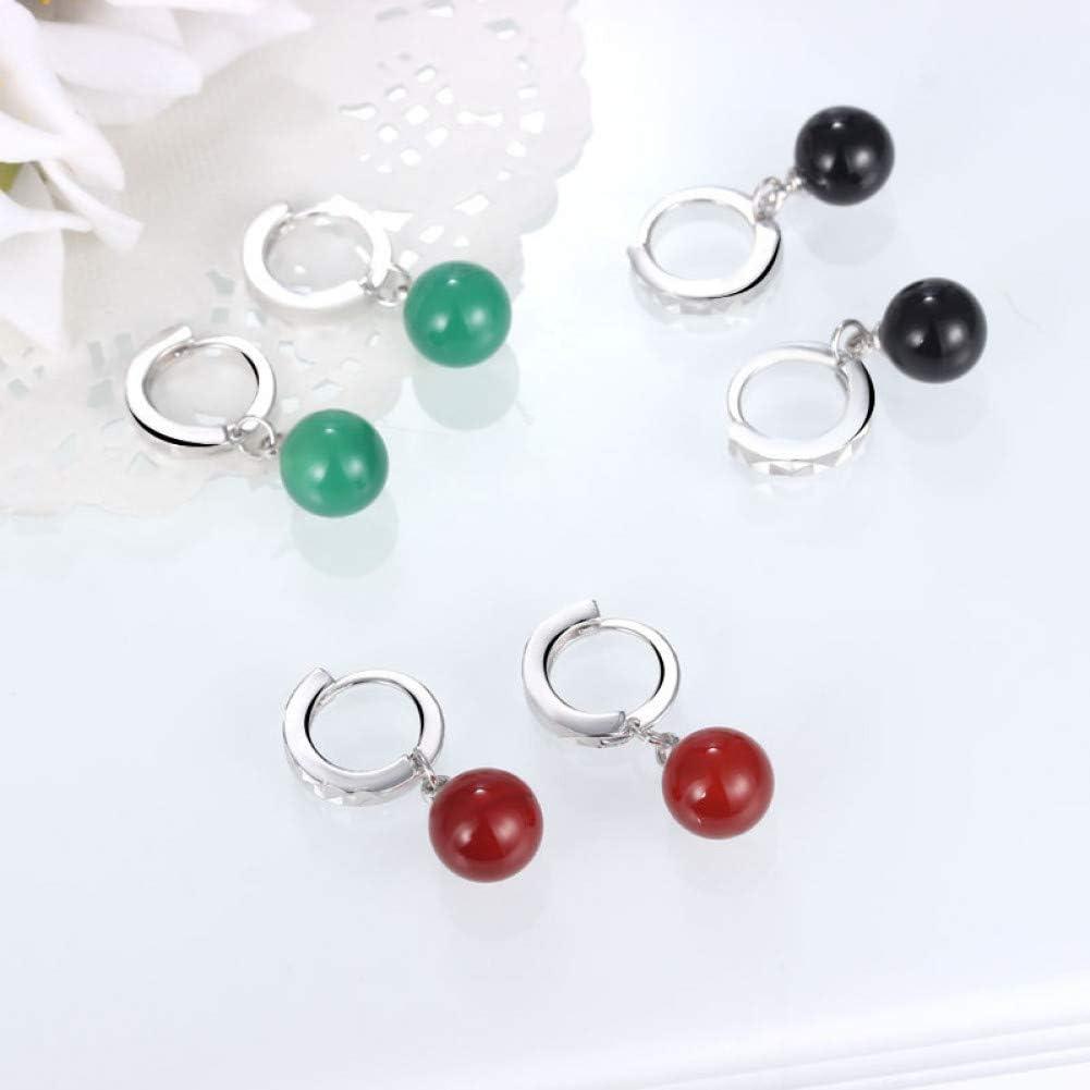 WZYMNED Modaplata esterlina verde/rojo/negro Color piedra pendientes para mujer mejor señora de plata esterlina-joyería