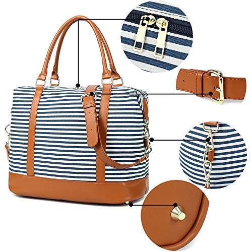 CAMTOP Women Ladies Weekender Travel Bag Canvas Overnight Carry-on Duffel Tote Luggage (Blue) by CAMTOP (Image #5)