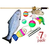 Lovely Cat Toys Set of 7. Variety Interactive Kitten Toys with Cat Teaser Wand, Catnip Fish, Sisal Rope Weave Fish, Feather Mouse Interactive Teaser Ball, Colorful Soft Foam Rainbow Ball, Jingle Balls, LED Light Pointer Cat Toys for Pet.