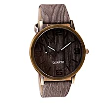 2016 High Quality Classical Wooden Watch Women Wristwatches Vintage Style Men Dress Watch Pu Leather Quartz Watch 2#