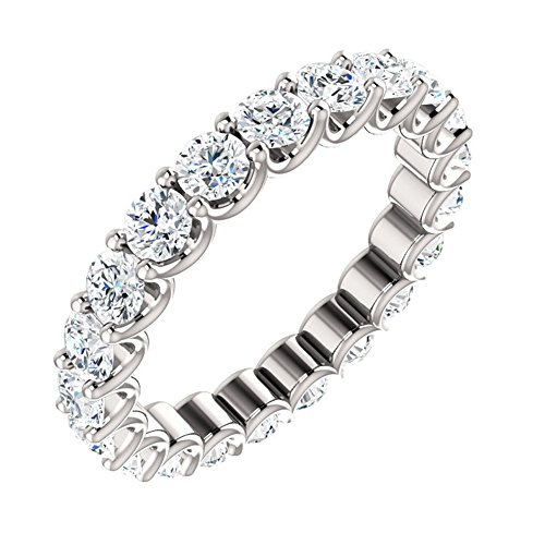2.16 ct Ladies Round Cut Eternity Wedding Band Diamond Ring ( Color G Clarity SI1) Platinum In Size 5 -