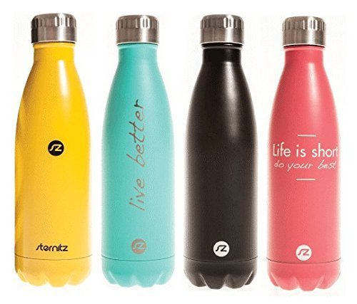 Sternitz Water Bottle - Double Walled Stainless Steel - 500 ml. - perfect for hiking, camping, sports and everyday use. (Yellow)