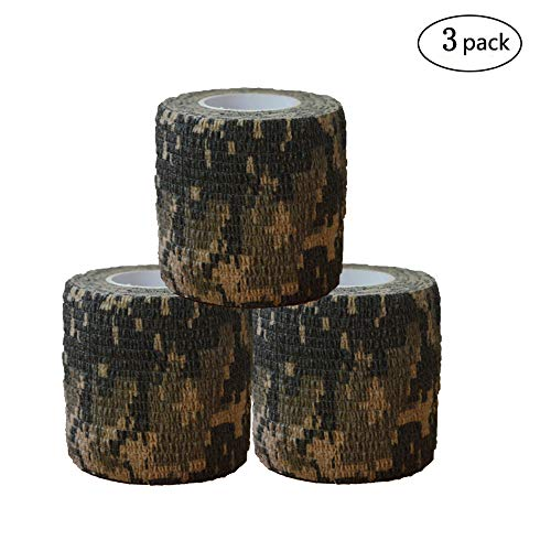 Military Wrap (Camouflage Wrap Camo Fabric Multi-functional Stealth Tape or Bandage Protective for Firearms,Military Telescopic,Outdoor Hunting Tool,Rifles,Flashlights,Cycling 3 Rolls 15' Length x 2