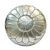 Marrkesh style Moroccan Metallic Leather Pouf Silver