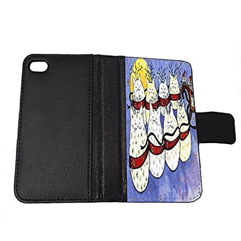 iPhone SE Leather Wallet Cover Case - Starry Kitties and Mouse Sleigh Christmas Express Cat Art by Denise - Mouse Sleigh