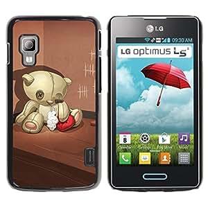 Be Good Phone Accessory // Dura Cáscara cubierta Protectora Caso Carcasa Funda de Protección para LG Optimus L5 II Dual E455 E460 // Teddy Bear Sad Lonely Broken Heart Red