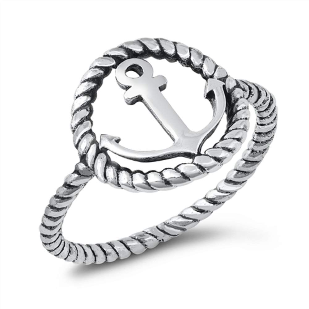 CloseoutWarehouse Oxidized Sterling Silver Anchor Rope Ring