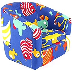 Emall Life Kid's Armchair Children's Roundy Chair Cartoon Sofa Wooden Frame (Under the Sea)