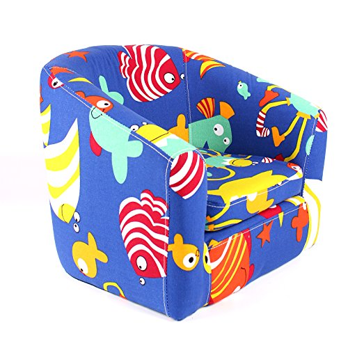 [Emall Life Kid's Armchair Children's Roundy Chair Cartoon Sofa Wooden Frame (Under the Sea)] (Pewter Decorative Tub)