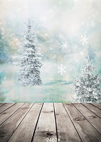 SJOLOON 5X7ft Vinyl Photo Backdrop Printed Photography Backgrounds Christmas Snowflake and Wooden Floor Backdrop 9467 -