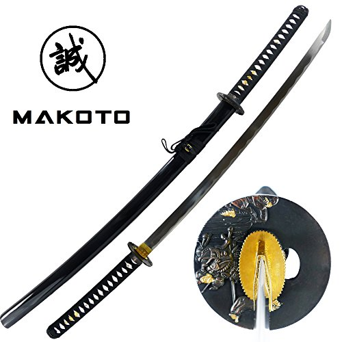(MAKOTO Handmade Sharp Katana Samurai Sword, Black, Choose Your Tsuba (Warrior))