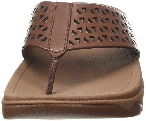 277 Dark Surfe Brown Fitflop Leather Flop Women's Tan Flip Lattice gBABwqz