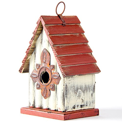 Hanging Decorative Birdhouse - Glitzhome Tall White/Red Hand Painted Wood Birdhouse, 8.94