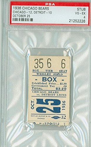 1936 Chicago Bears Ticket Stub vs Detroit Lions - Bears 12-10 October 25, 1936 [Graded PSA 4 Very Good to Excellent by PSA] by Mickeys Cards