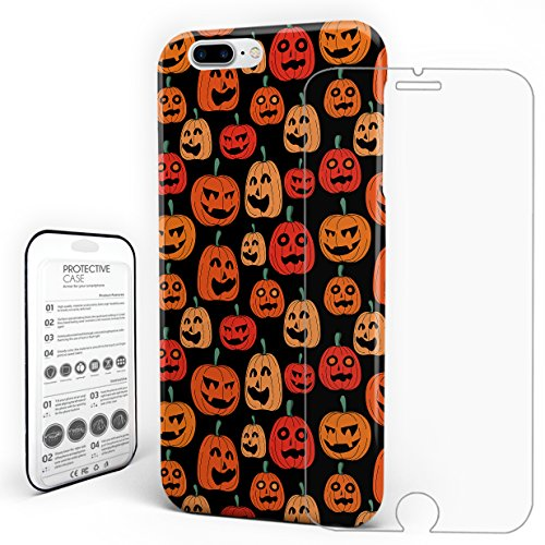 Pumpkin Phone Case Halloween Theme Protective Design Durable Hard PC Material Back Slim Phone Cover with Tempered Glass Screen Protector for iPhone 7 Plus and for iPhone 8 Plus -