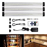 LEBRIGHT LED Under Cabinet Light Dimmable 12-inch Ultra Thin Under Counter Lighting with Remote Control , 3pcs 4W Panels kit, Total of 12W,1100LM,LED Closet Lighting(3000K Warm White)