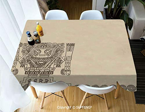 Vinyl tablecloth Mayan and Inca Tribal Symbols Superstition Primitive Relic Archeology (60 X 120 inch) Great for Buffet Table, Parties, Holiday Dinner, Wedding & More.Desktop decoration.Polyester Wri