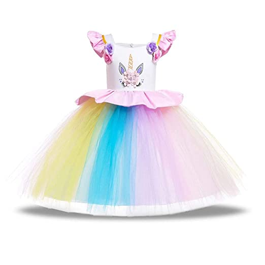 fecbb84c233f Baby Girl Unicorn Costume Dress Cosplay Princess Dress up Lace Tulle  Pageant Party Dance Gown (
