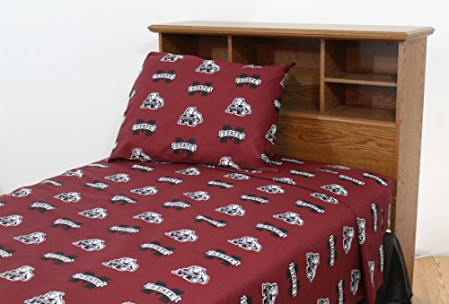 College Covers Mississippi State Bulldogs Printed Solid Sheet Set, Queen