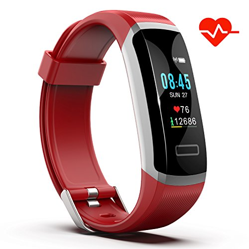 Akuti Fitness Tracker HR, Fitness Watch with Heart Rate Monitor, Activity Tracker, Sleep Monitor, Step Counter Calories Watch, IPX7 Waterproof Smart Wristband Pedometer for Kids, Women and - Calorie Band Monitor