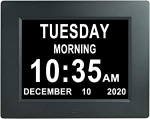 [2020 Newest] Digital Day Calendar Clock 3 Medicine Reminders Extra Large 8 Inch Non-Abbreviated Day Date Month Dementia Senior Clocks for Eldarly Memory Loss Vision Impaired Clock