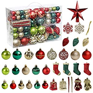 Best Epic Trends 518I-qXuOIL._SS300_ Christmas Tree Ornament, 132pcs Christmas Tree Decoration Set Red Green Gold Christmas Ball Shatterproof Hanging Tree…