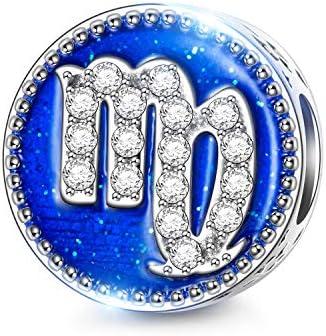NINAQUEEN® Charm - Ciondolo 12 Segni di Zodiaco Argento Sterling 925 Costellazioni Ciondoli Zirconia Smalto, Compatibile con Collana e Bracciale Pandora, Chamilia e Europei, con Confezione Regalo