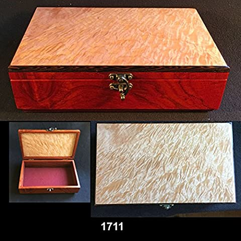 Small treasures box. Bubinga body, highly figured maple lid trimmed with wenge. #1711 - Bubinga Body