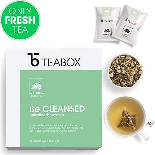Teabox Detox Herbal Tea (Be Cleansed) 40g, 16 Teapac Teabags from India| Caffeine Free with Natural Ingredients: Dandelion, Milk Thistle, Holy Basil, Ginger | Inspired by Ayurveda