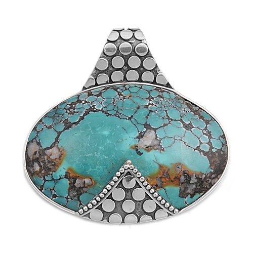 Joyara - Collier Femme Argent Fin 925/1000 Turquoise Pierre (Vient avec une chaîne de 45 CM)