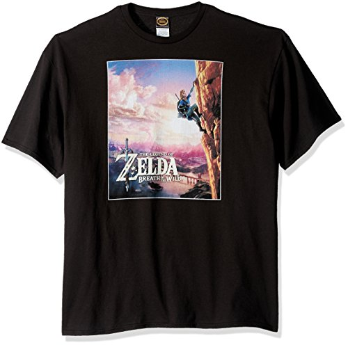 Nintendo Men's Zelda Wild Poster Catching Breath T-Shirt, Black, Large (All Shrines In Breath Of The Wild)