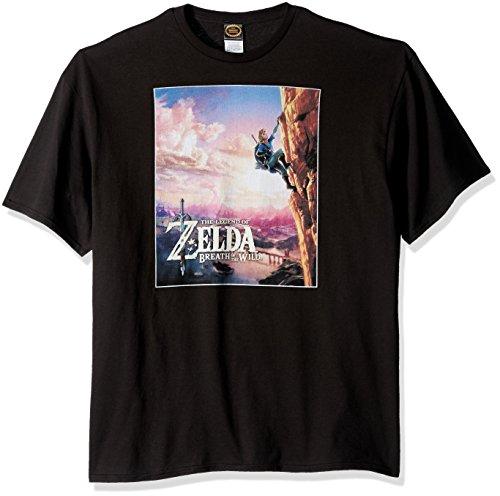 Price comparison product image Nintendo Men's Zelda Wild Poster Catching Breath T-Shirt, Black, X-Large