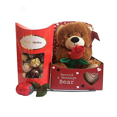 Valentines Gift Set with Teddy Bear, Chocolate Rose, and Ferrero Rocher Chocolates by Premier Life Store ()