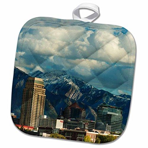 3dRose Danita Delimont - Utah - Salt Lake City with Wasatch Front, Utah, USA - US45 HGA0460 - Howie Garber - 8x8 Potholder (phl_147345_1)