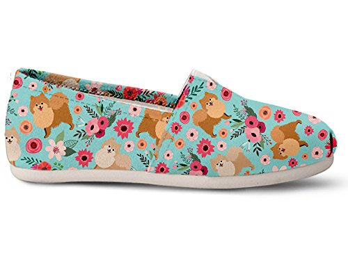 Gnarly Tees Pomeranian Flower Casual Shoes, Size 7 White
