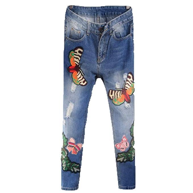 Pantalones Vaqueros de algodón Primavera Verano Moda Floral ...
