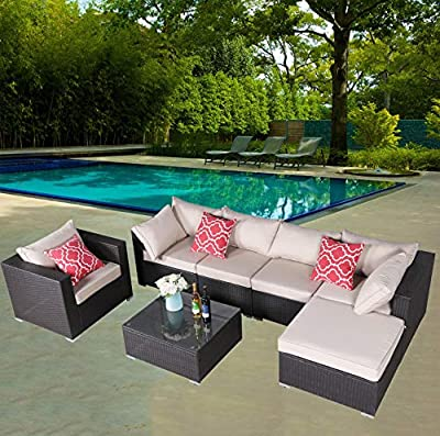 HTTH Rattan Patio Furniture Sofa Set Garden Lawn Pool Backyard Outdoor Wicker Conversation Set with Weather Resistant Cushions with 2 Pillows-9310E