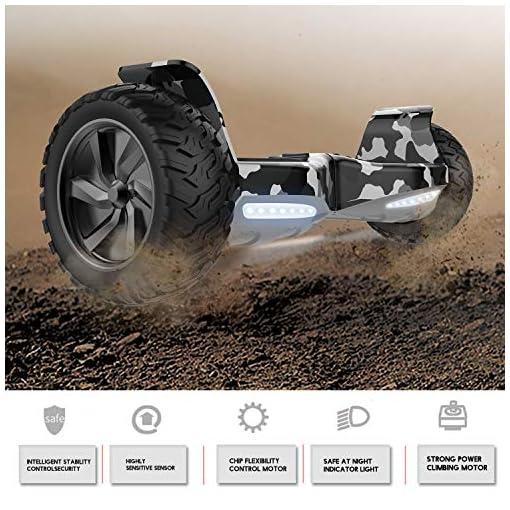 GeekMe Gyropode Electrique n 8.5 Pouces Scooter électrique Auto-équilibré Tout Terrain avec Application Bluetooth Moteur Puissant LED pour Adultes et Enfants