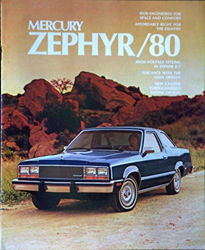 1980 MERCURY ZEPHYR, ZEPHYR GHIA SEDAN & WAGONS & ZEPHYR Z-7 SPORT COUPE COLOR SALES BROCHURE - 80-2031 - GREAT ORIGINAL - USA !!
