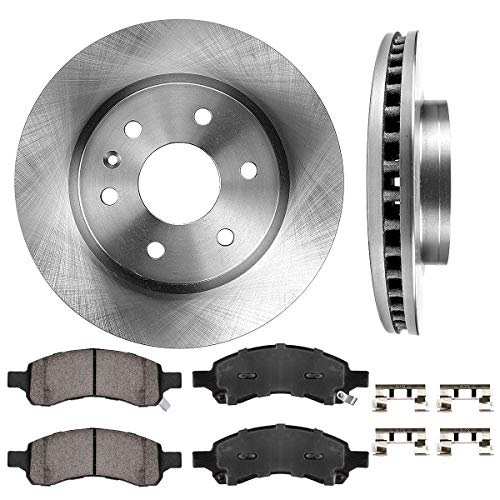 FRONT 325 mm Premium OE 6 Lug [2] Brake Disc Rotors + [4] Ceramic Brake Pads + Clips ()