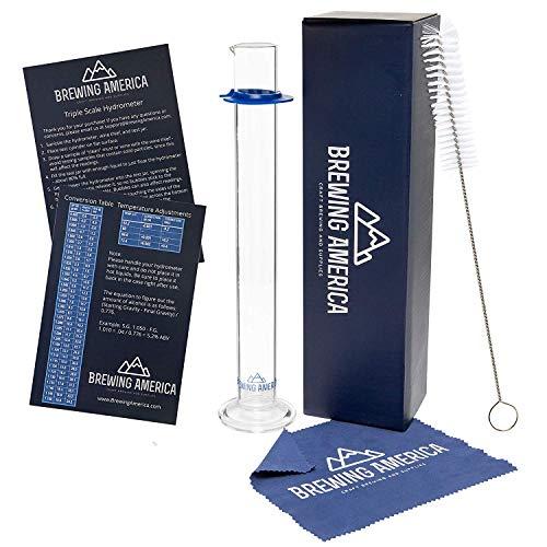 Glass Hydrometer Test Tube Jar & Cylinder Brush - Narrow Flask for Alcohol Meter Testing Moonshine, Homebrew Beer, Home Wine Making Kits, Borosilicate Glass 3.3… (Alcohol Hydrometer)