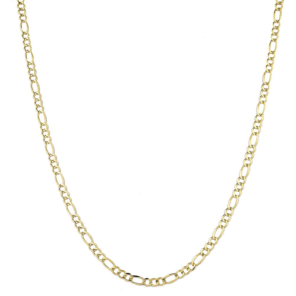 Luxurman 10K 8'' Yellow Solid Gold 5mm Diamond Cut Figaro Chain Link Bracelet with Lobster Clasp by Luxurman (Image #3)