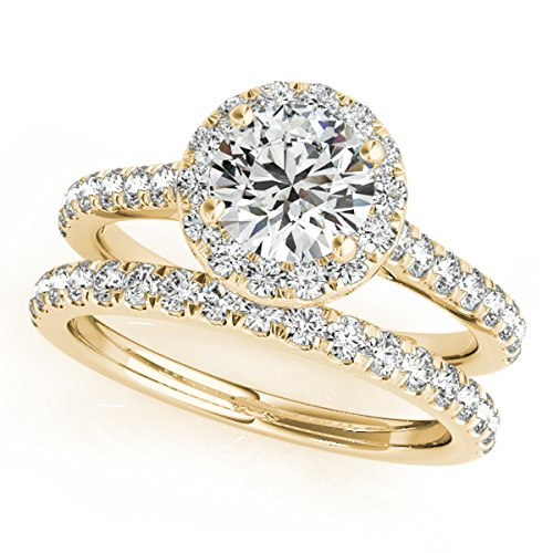 (MauliJewels 0.75 Ct. Diamond Engagement Bridal Ring Set 14K Solid Yellow Gold)
