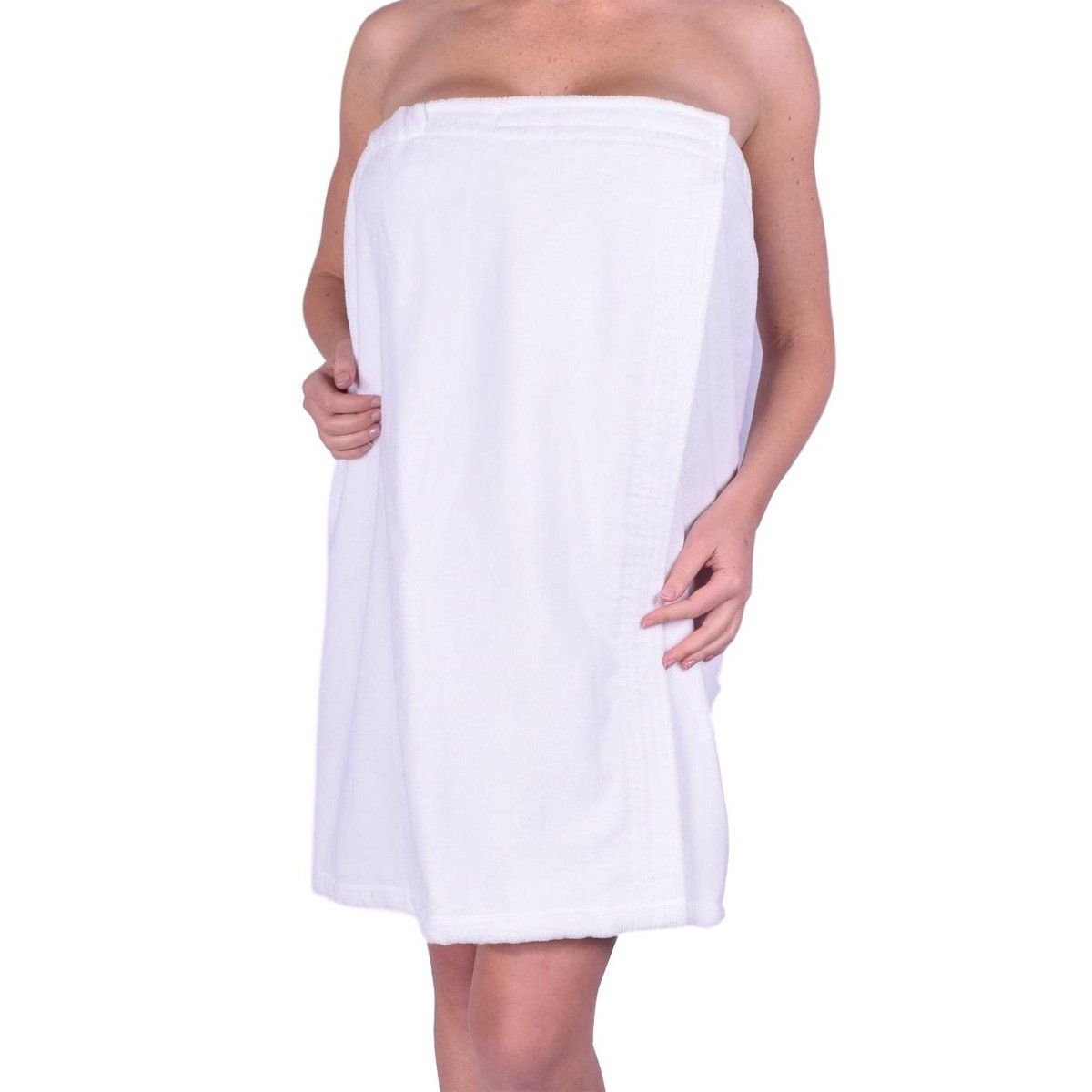 anatolian Womens Body Wrap Towel - 100% Cotton Adjustable Bath Cover Up - Made in Turkey (Snow White, 1)
