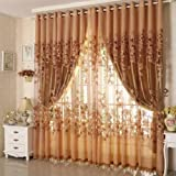 LightInTheBox One Panel Country Floral Living Room Polyester Sheer Curtains Shade (144W96″L, Coffee) For Sale