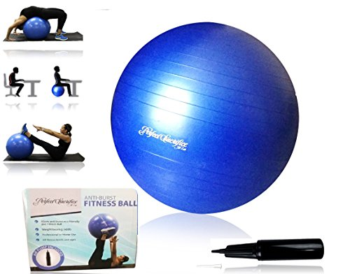 Exercise Ball for Yoga, Fitness, Core Strength, Stability Training, Pilates, Hand Pump...