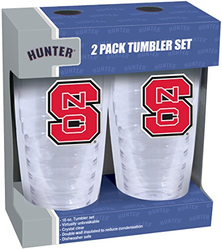 Nc State Wolfpack 2 Piece - NCAA North Carolina State Wolfpack Slimline Tumber Set with Patch (2-Piece), 16-Ounce, Clear