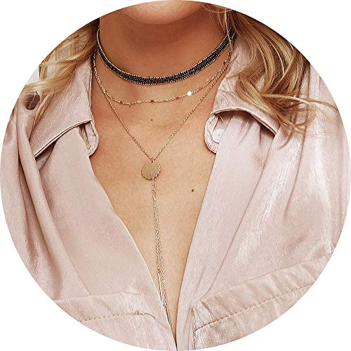Turandoss Layered Lace Choker Necklace - Layered Lace Chain Gold Choker Necklace, Baton and Disc Pendant Choker Necklace for Women, Dainty Chokers Necklace for Girls